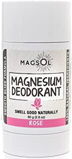 Rose Natural Deodorant with Magnesium - Aluminum Free, Baking Soda Free, Alcohol Free, Cruelty Free, Healthy, Safe, Non Toxic, All Natural, For Women, Men & Kids - 2.8 oz (Lasts over 4 months)