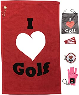 Giggle Golf Par 3 with Mini Golf Glove Key Chain - I Love Golf Towel, Tee Bag, Bling Ball Marker with Hat Clip, and Mini Golf Glove Key Chain – Perfect Golf Gift for Women