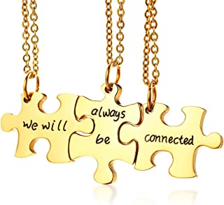 Gold Plated Stainless Steel Three Puzzle BFF Best Friend We Will Always be Connected Friendship Necklace Set for 3