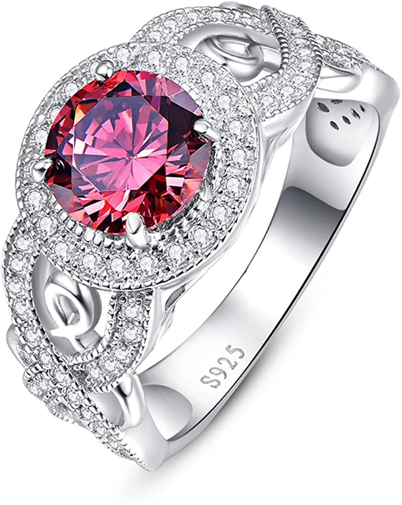 Ranking TOP1 Zetaur 925 Recommended Sterling Silver Created Pink Topaz Round Brilliant Cu