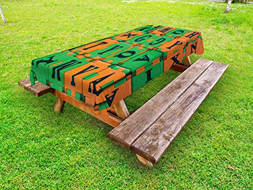 ABAKUHAUS ABC Puzzle Tafelkleed voor Buitengebruik, Childrens Letter Foam, Decoratief Wasbaar Tafelkleed voor Picknicktafel, 58 x 104 cm, Marigold en Green