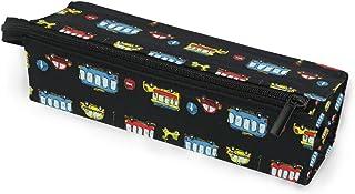 MASSIKOA Cartoon Monster Trucks Cars Pencil Bag Makeup Pouch Durable Pen Stationary Organizer with Zipper for Adults Teens...