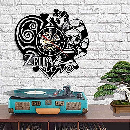 HCPGZ Popular Legend Game Character Reloj de Pared Niños S Dormitorio Dibujos Animados Murales Decorativos Led Vinyl Record Reloj de Pared Moderno Reloj Popular