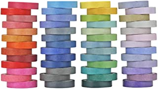 60 Roll Rainbow Washi Tape Set Colorful Writable Paper Adhesive Masking Tapes 8MM Width Sticky Paper Tape for DIY Scrapboo...