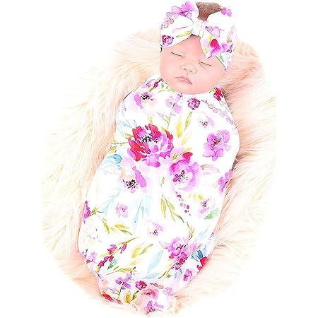 Galabloomer Newborn Receiving Blanket Headband Set Flower Print Baby Swaddle Receiving Blankets Heart