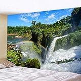 Tapiz artístico para el hogar con cascada de bosque aislado, tapiz decorativo bohemio, manta para sofá Hippie, tapete A5 130x150cm