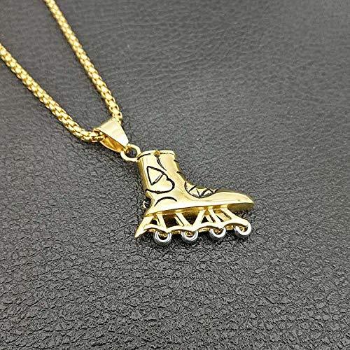NCDFH Hip Hop Gold Silber Farbe Edelstahl Rollschuhe Schuhe Anhänger Halskette für Herren Schmuck mit 24 Ketten Gold