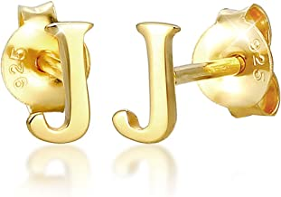 Elli Earrings Studs Letter J Initials Minimalist in 925 Sterling Silver Gold Plated