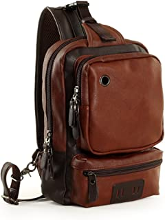 YiYiNoe Leather Chest Bag Multipurpose Daypacks Sling Shoulder Unbalance Backpack,10L Large Capacity,Crossbady Bag for Men Brown