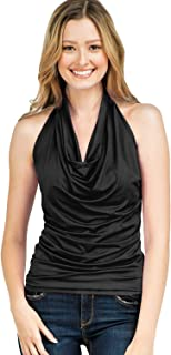 CLOVERY Women's Halter Neck Sleeveless Slim Fit Draped Front Top