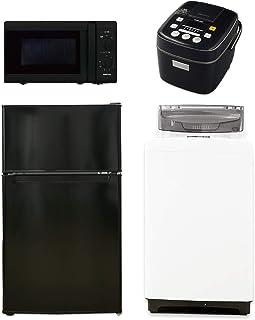 [山善] 家電セット 新生活家電 4点セット 新品 (86L冷蔵庫 5.0kg洗濯機 電子レンジ 東日本 50Hz 3合炊き炊飯器)ブラック