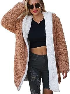 Women's Coat Winter Autumn Long Warm Artificial Wool Ladies' Jacket Parka Outerwear Cardigan Two-Way Wearing