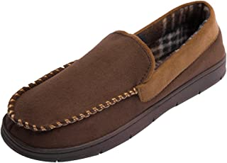 MIXIN Mens Microsuede Moccasin Slippers Non Slip Sole House Shoes Indoor Outdoor Loafers.