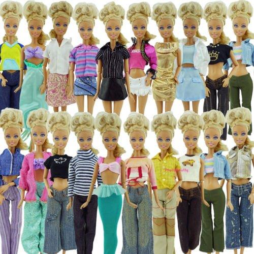 10 x Zufällig ausgewählte Barbie Sindy Puppen Hose Outfit Set & 10 Paar von Schuhe/Stiefel - versandt Von London by Fat-Catz