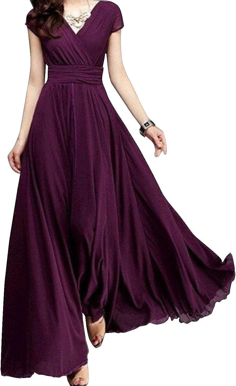 Inshine Women Long V-Neck Chiffon Cocktail Formal Evening Maxi Dresses