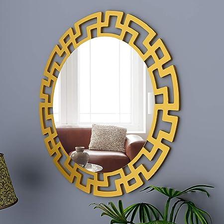WallMantra Modern Decorative Vanity Mirror in Round Shape Golden Finish Frame