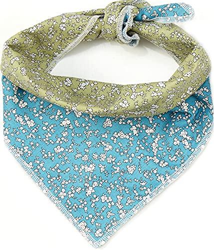 Odi Style Hundehalstuch, wendbar, Grün und Blau, Blumenmuster, für große, mittelgroße Hunde, Baumwollbandanas, Taschentücher, Schals, Zubehör für große, mittelgroße Hunde, Welpen, 1 Stück