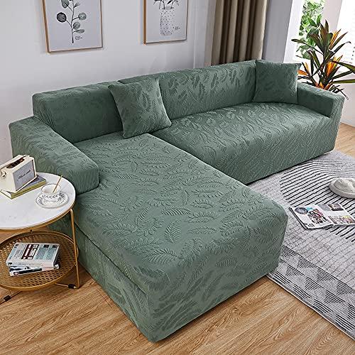 Fundas sofa elasticas jacquard de hoja de árbol, Protector sofa todo incluido, anti-arañazos de gato, decoración del hogar adecuada para la mayoría de los sofás (Matcha green,A-A 2 seater 145-185cm)