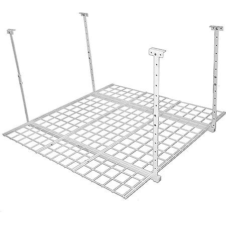HyLoft 00540 45-Inch by 45-Inch Overhead Storage System, Ceiling Mount Garage Organization Rack, White
