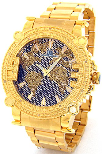 Super Techno Diamond Watch Mens Genuine Diamond Watch Oversized Gold Tone Metal Band w/ 2 Interchangeable Watch Bands