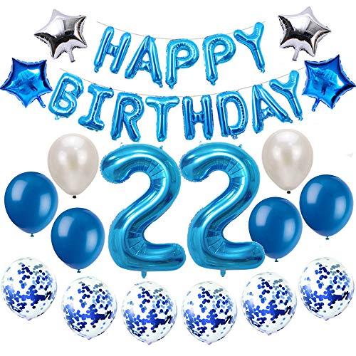 Oumezon 22 Geburtstag Dekoration Blau, 22. Geburtstag deko für Mädchen Jungen Happy Birthday Girlande Banner Folienballon Konfetti Luftballons Deko Geburtstag Party Anzahl Ballons