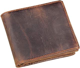 Sponsored Ad - HRS Genuine Leather Wallets for Men-Handmade Vintage Italian Distressed Large Bifold Men's Wallet with RFID...