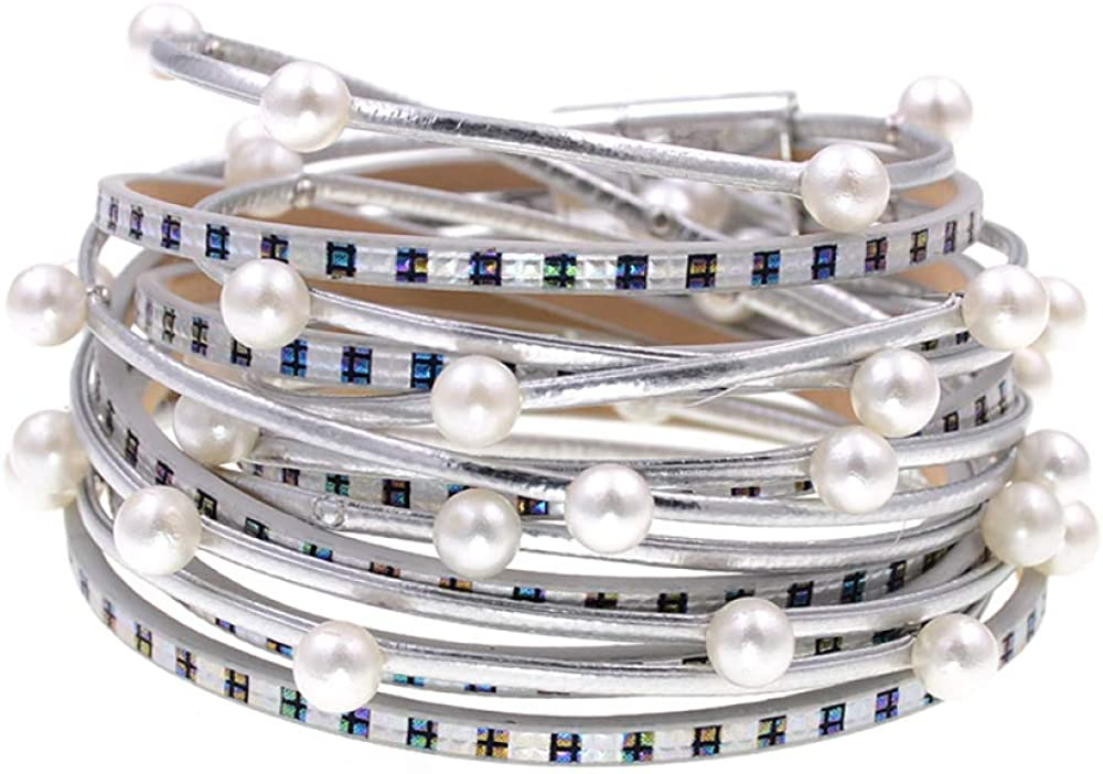 Quality inspection Leather Bracelet New Style Wrap 2 Pearl Simulated Award Bracelets Laye
