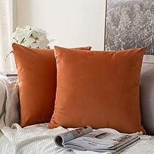 MIULEE Velvet Soft Soild Decorative Square Throw Pillow Covers Set Cushion Case for Sofa Bedroom Car, Velvet, Orange, 24''...