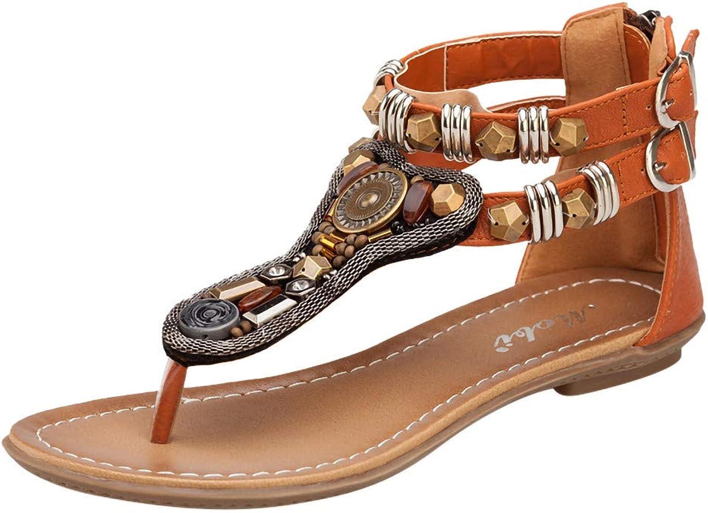 SUSENSTONE Women's Retro Bohemia String Bead Flats Flip-Flops Open Toe Beach Rome Sandals
