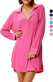 Zexxxy Nightgown Women Boyfriend Pajamas Long Sleeve Button Down Sleep  Shirts Dress S-XXL 3577990ef