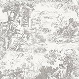 Beacon House 2668-21512 Isabella Toile Wallpaper, Grey
