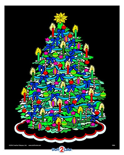 Christmas Tree - Fuzzy Velvet Coloring Poster - Holiday Crafts Coloring Project for Kids and Adults (Arrives Uncolored) [All Ages Design]