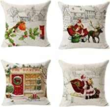 A 4PC Christmas Square Throw Flax Pillow Case Decorative Cushion Pillow Cover by Alburba