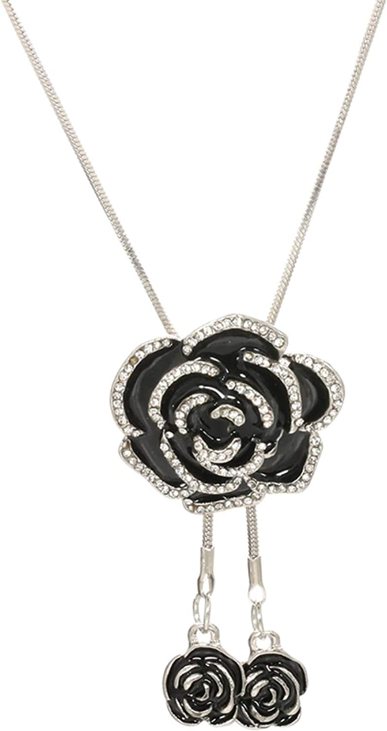 Gsdviyh36 Seasons Women Necklace Vintage Women Rhinestone Rose Flower Pendant Long Chain Necklace Jewelry Gift for Party Jewelry