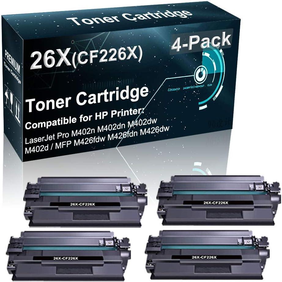4-Pack Compatible High Yield 26X CF226X Toner Cartridge Used for HP Pro M402n M402d M402dw / MFP M426fdw M426fdn Printer (Black)