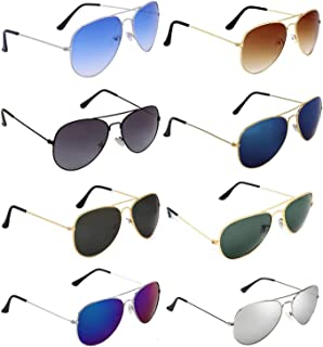 Dervin Aviator Men's and Women's Sunglasses Combo (Multi-Coloured) - Pack of 8