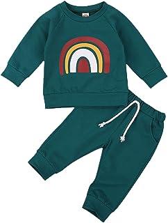 Newborn Baby Boys Girls Fall Winter Clothes Long Sleeve Pullover Shirt Pants Set Rainbow Sweatsuit