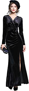 Ababalaya Women's 90s Retro Velvet Long Bodycon Side Slit Formal Evening Gown