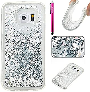 Galaxy S6 Edge Case, Firefish Thin Sparkle Flexible TPU Gel Silicone [Ultra Thin] [Scratch Resistances] Back Cover Shell for Samsung Galaxy S6 Edge -Silver