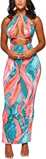Women's Sexy Two-Piece Maxi Dress Halter Floral Printed V Neck Sleeveless Summer Beach Party Clubwear