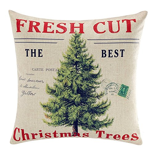 Acelive 20x 20 inches Merry Christmas Throw Pillow Cover Gifts Christmas Tree Xmas Home Decor Design Cotton Linen Cushion Cover for Home Office Indoor Decorative Square