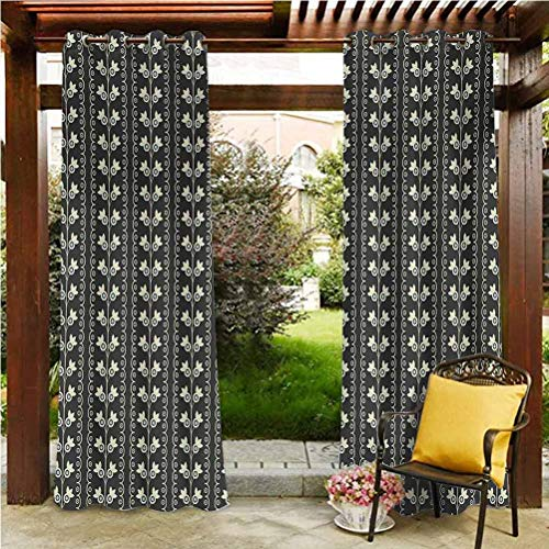 ScottDecor Floral Quality Curtains for Patio Porch Gazebo Garden Pale Blue Spring Flowers with Leaves on Branches Vertical Wavy Pattern Black Pale Blue Cream 118' W by 95' L(K299cm x G241cm)