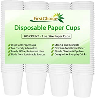 FirstChoice EcoNaturals Disposable White Paper Cups - 3oz - 200 Count - Plastic Cup Alternative - Portion Sample Cups
