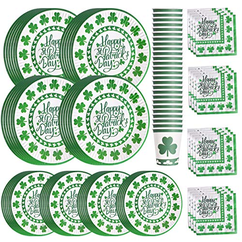 St Patrick's Day Paper Plates Napkins Cups for 24 Guests Green Shamrocks Dinner Irish Party Supplies Disposable Dinnerware Set Decoration, Serves 24