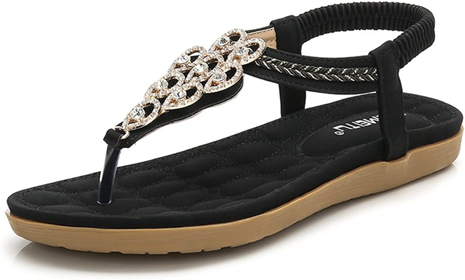 Mobnau Women's Leather Beaded Beach Thong Summer Sandals