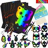 Fogli di Disegni Scratch Art,50 Fogli Arcobaleno da Grattare e maschere di animali Scratch Carta nera da grattare bambini con 4 Modelli di Disegno e 1 Temperamatite per da Scarabocchiare. (14 * 20Cm)