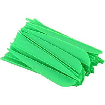 Moligh doll Arrows Vanes 4 Inch Plastic Feather Fletching for DIY Archery Arrows 50 Pack Green