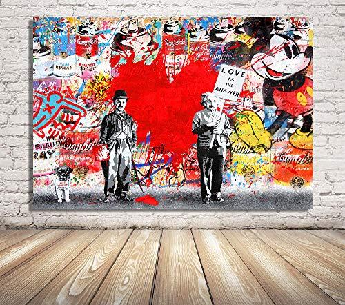 Faicai Art Banksy Graffiti Street Art Pop Art Famous Character Background Red Heart Canvas Paintings Wall Art Prints Posters Modern Home Decor Wall Decor Wooden Framed 24'x36'