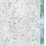 Rabbitgoo Película de la ventana de privacidad de la puerta, Película decorativa de vidrio del arco iris, Calcomanías de vidrieras, Vinilo de ventana estática, Cubierta de la ventana de la puerta,...