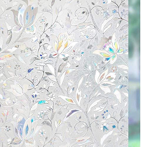 rabbitgoo Fensterfolie Selbsthaftend Blickdicht Sichtschutzfolie Fenster 3D Fensterfolie Glasfolie Dekofolie Statisch Haftend ohne Klebstoff UV Schutz Blumen Tulpe 88x200cm für Bad Büro Wohnzimmer